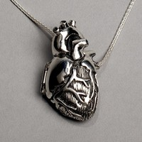 Original Silver Anatomical Heart Locket 28 inch by heronadornment