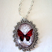 Original Watercolor Butterfly Pendant with Link Chain - Red
