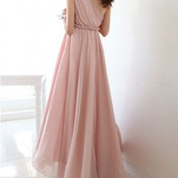 One Shoulder Chiffon Maxi Dress in High Waist
