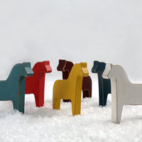 Scandinavian Dala horse wooden toys decor for Christmas, set of six