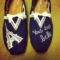 Women's French Lace Paris Toms Shoes