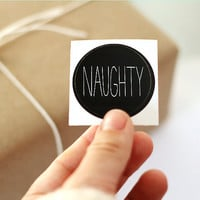 Christmas Stickers. Gift Tag Sticker Set of 12. Envelope Seals. Naughty and Nice.