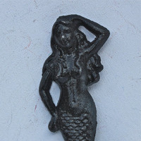 Black Mermaid Cast Iron Hook/ Beach Cottage, Coastal, Shabby Chic Decor/ Bath Towel Hanger