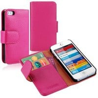 Amazon.com: i-Blason Apple New iPhone 5 Genuine Leather Book Folio Wallet Case for iPhone 5 5G 4G LTE AT&amp;T / Verizon / Sprint CDMA GSM Version (Hot Pink): Electronics
