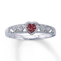 Garnet Heart Ring Diamond Accents 10K White Gold