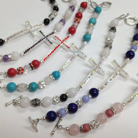 Rhinestone cross and stone beads bracelet -- Multiple colors available