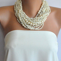 Chunky Layered Ivory Pearl Necklace with Rhinestones by kirevi8