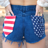 High Waisted American Flag Pockets