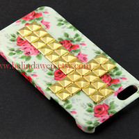 floral case, studded case, Iphone 5 Case, cross studded iphone 5 case, golden studded Iphone case, Flower Rose Iphone 5 Hard Case
