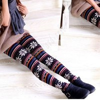Hot!!! Fashion Women&#x27;s Knitted Snowflakes Multi-Pattern Leggings Tights Pants