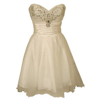 A-line Sweetheart Sleeveless Short/Mini Satin Organza  Wedding Dress With Beading Free Shipping