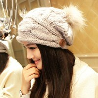 Winter Warm Cute Woolen Fluffy Ball Beanie