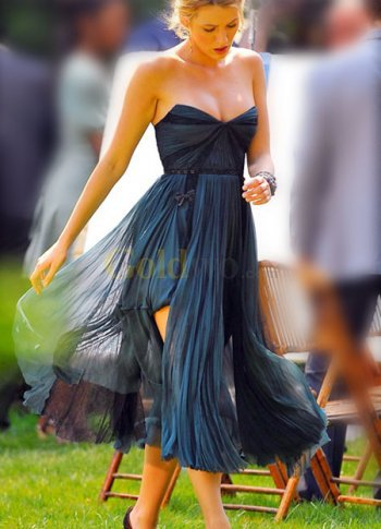 Gossip Girl Sexy Strapless Satin Chiffon Celebrity Dress - US$195.99 - Goldwo.com