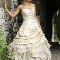 Ball Gown Multi-Layer Sweetheart Tulle Satin Wedding Dress - US&amp;#36;222.99 - Goldwo.com