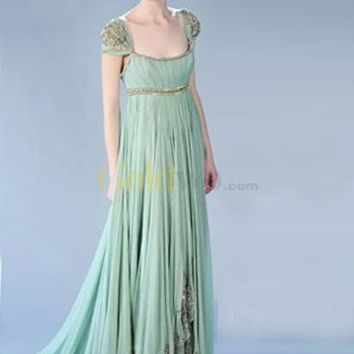 Gossip Girl Fashion Cap Sleeves Empire Waist Satin Chiffon Maxi Celebrity Dress - US$244.99 - Goldwo.com