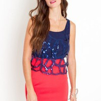 Caged Sequin Tank - Navy - NASTY GAL