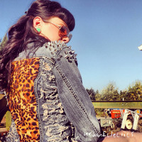 Distressed Spiked Leopard Print Jacket