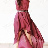 Hot Fashion Women Sexy Sleeveless Irregular Chiffon Skirt Dress 3 Colors