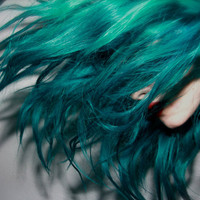 TURQUOISE Blueish Green Hair // Deluxe FULL HEAD Extensions // Clip-In // Human Hair