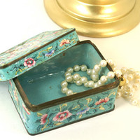 Vintage Chinese Enameled Metal Jewelry Trinket Box