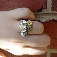 Steampunk ring, stainless steel unisex steampunk ring, watch gear ring, silver, bronze and gold ring, mens steampunk, OOAK