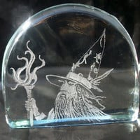 Wizard paper weight , hand engraved with natural glass inclusions, etsy black friday