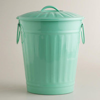Large Mint Retro Galvanized Trash Can
