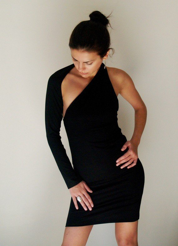 Black Dress Fitted One shoulder Mini Dress Long by marcellamoda