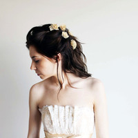 Floral Bobby Pins - Lace Blossoms (Gold) - Floral Bridal Hair Accessories
