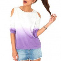 Missguided - Marinda Dip Dye Cut Out Sweater In Purple