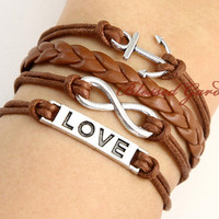 bracelet,Infinity bracelet, anchor bracelet, brown bracelet ,love bracelet, infinity love,braid leather bracelet,  friendship gift