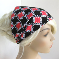 Fabric Headband Women&#x27;s Black Coral Pink White Geometric Head Wrap Puzzle Shapes Geo Cotton Print Elastic Bandana