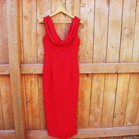 vintage red sleeveless dress with drape neckline. Datiani. size S to M