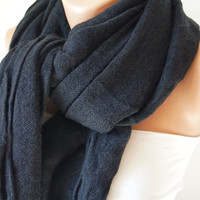 Coal Black Soft Long Scarf, wrap