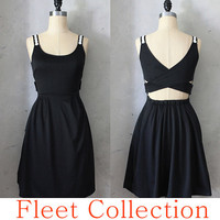 DERICA in Black - Dress with pockets and criss cross straps // LBD with pleated skirt // Available in 4 colors, Sizes XS-XL