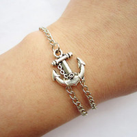 Bracelet---antique silver little anchor bracelet &alloy chain