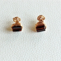 Gold Wire Wrapped Cuff-Links