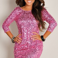 Shimmering Pink Glam Half-Sleeve Sequin Party Dress