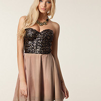 Sequin Bandeau Skater Dress, Reverse
