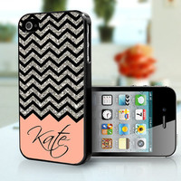peach and silver Chevron Personalised - iPhone 4S and iPhone 4 Case Cover