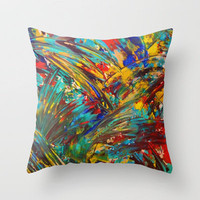FIREWORKS IN COLOR - Bold Abstract Acrylic Painting Lovely Masculine Colorful Splash Pattern Gift Throw Pillow by EbiEmporium | Society6