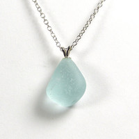 Seafoam Blue Sea Glass Necklace