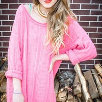 Customizable Pink Heart Knit Oversized Studded Sweater