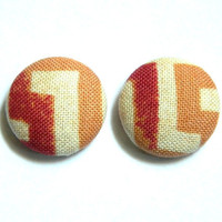Button Earrings Tribal African Aztec