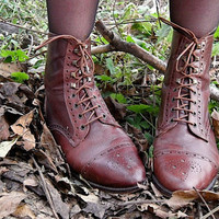Vintage Brown Lace Up Victorian Pixie Boots 7.5 7 1/2