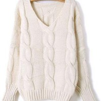 Beige Batwing Long Sleeve  Sweater S006438