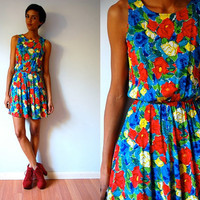 Vtg Colorful Floral Print Sleeveless Summer Dress