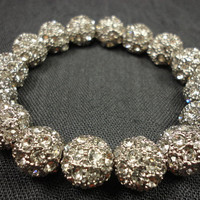 Pave Rhinestone Beadwork Stacking Bracelet