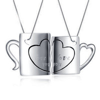 Matching Cups Birthday Gift for Him Couple Necklace - GULLEITRUSTMART.COM