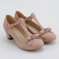 Nongli Bow-Accent T-Strap Pumps